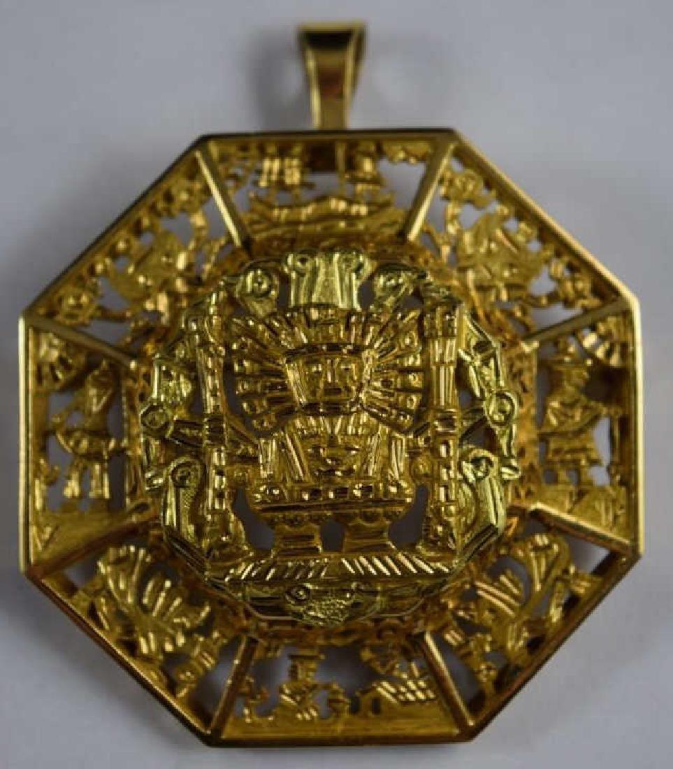 18K GOLD AZTEC MAYAN GODS SCENIC PENDANT BROOCH
