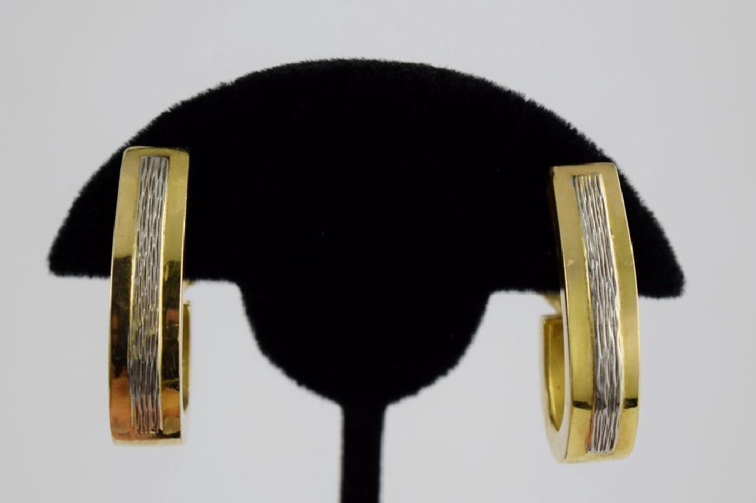 PAIR 14K GOLD DANGLE HOOP HOOK SHAPED EARRINGS