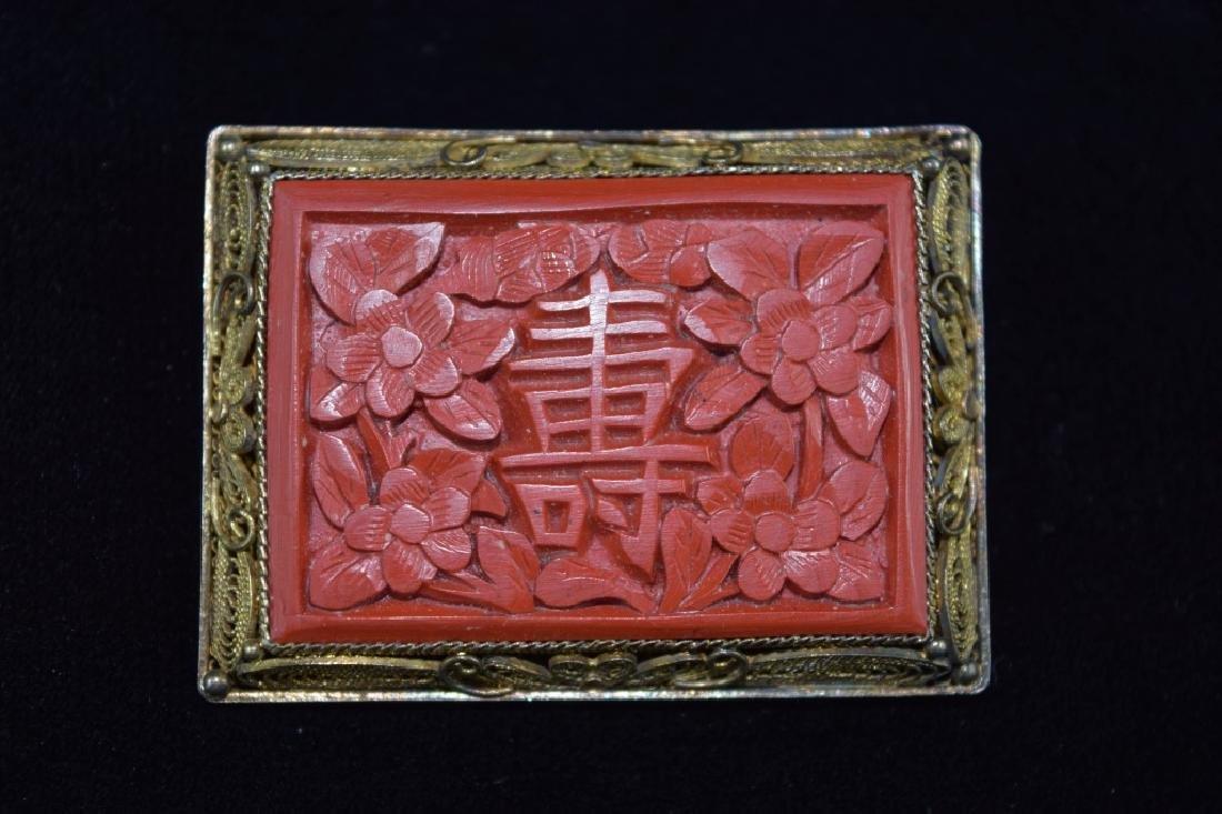 CHINESE 800 SILVER CINNABAR FILIGREE BROOCH PIN