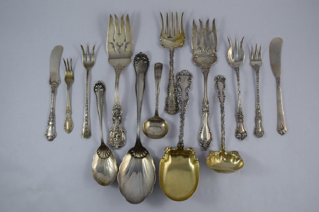 MIXED LOT STERLING SILVER FORKS SPOONS SERVING+