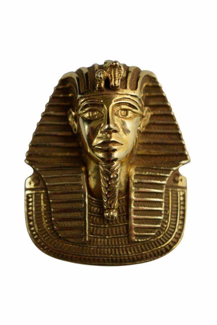 LARGE 14K GOLD EGYPTIAN KING TUTANKHAMUN PENDANT