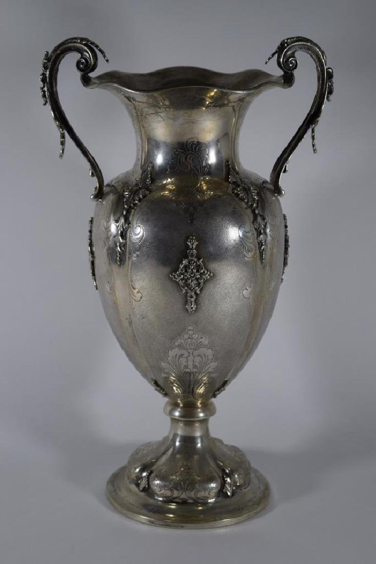 ITALIAN .800 SILVER HAND CHASED AND DECORATED VASE