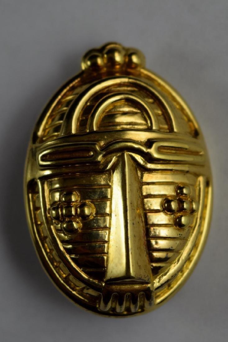 18K GOLD UNOAERRE ABSTRACT MASK BEETLE BROOCH
