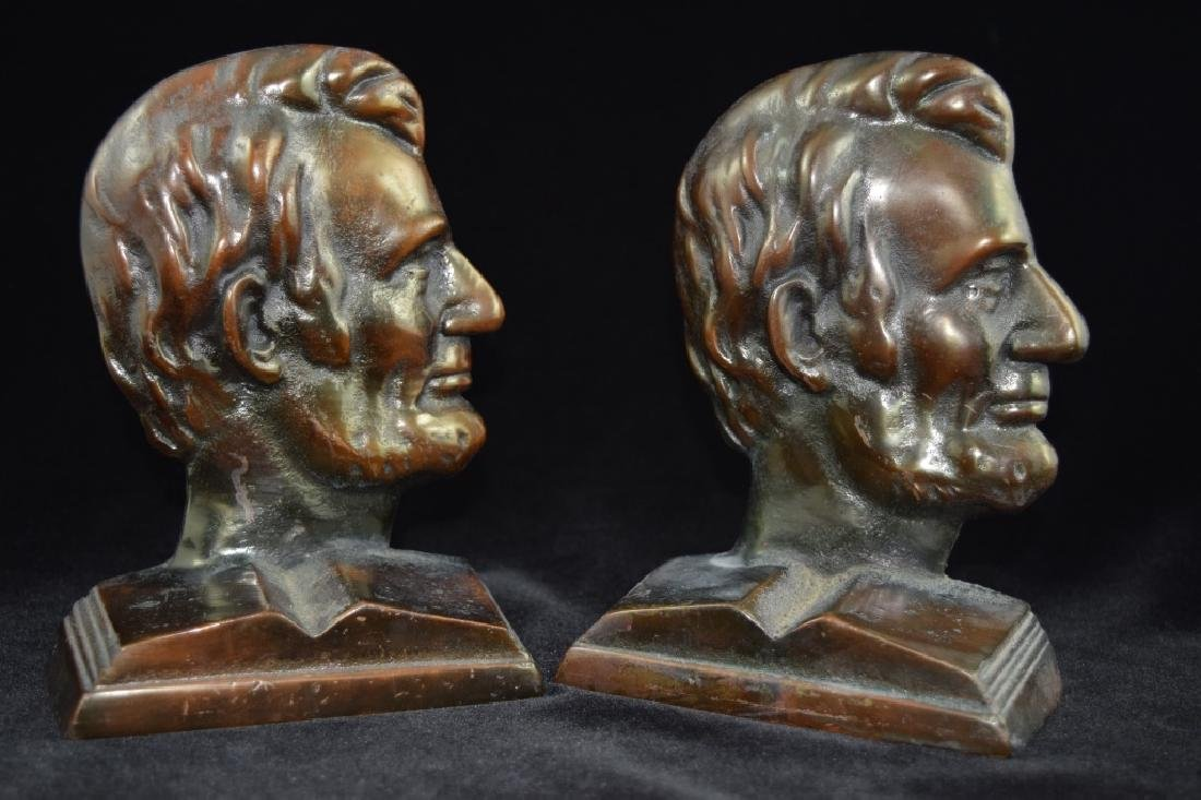 PRESIDENT ABRAHAM LINCOLN BRONZE BOOK ENDS