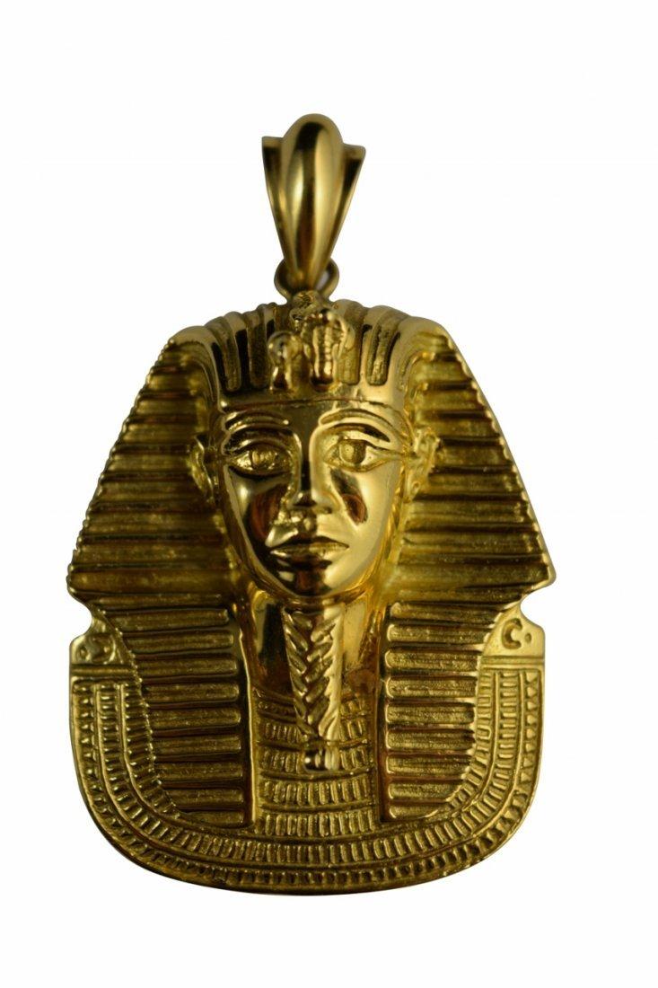 LARGE 18K GOLD EGYPTIAN KING TUTANKHAMUN PENDANT