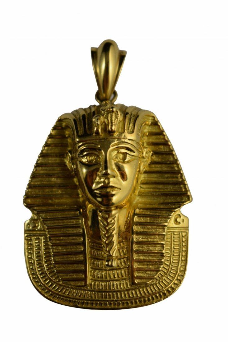 LARGE 18K GOLD EGYPTIAN KING TUTANKHAMUN PENDANT