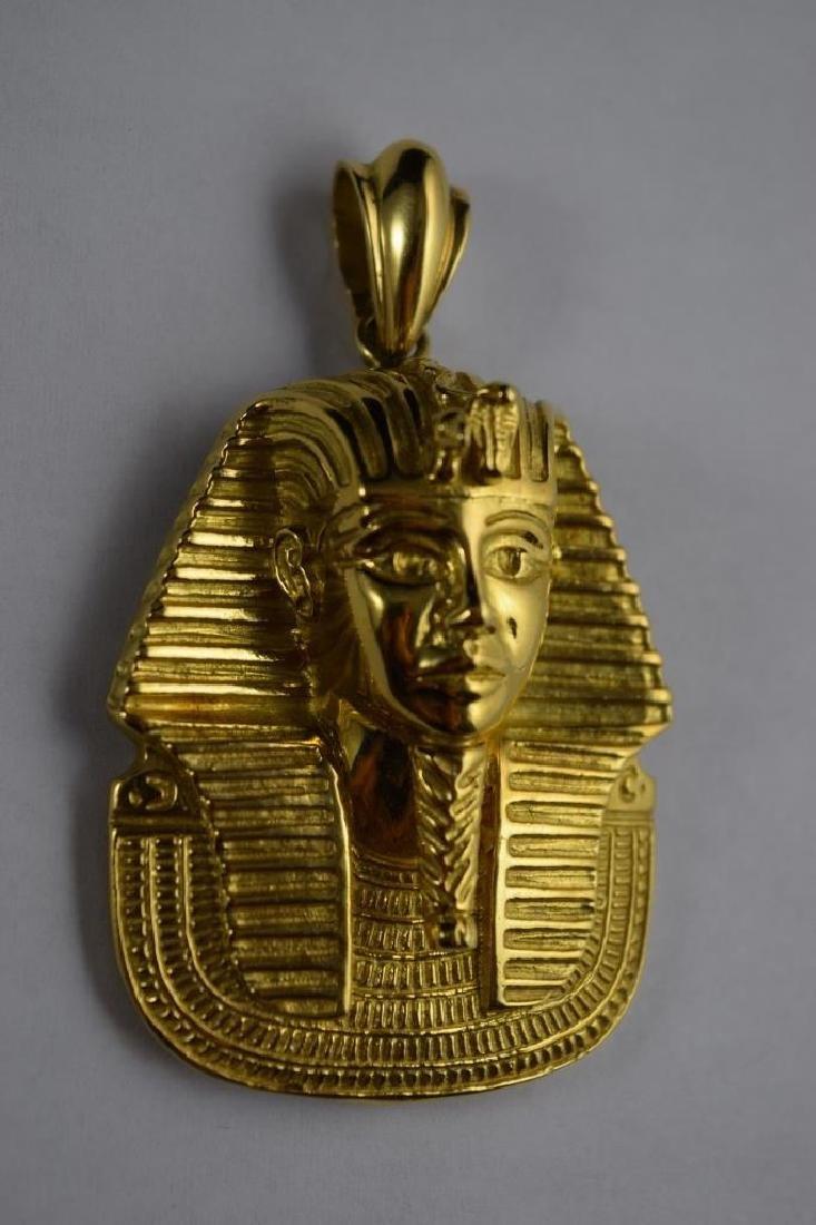 LARGE 18K GOLD EGYPTIAN KING TUTANKHAMUN PENDANT - 2