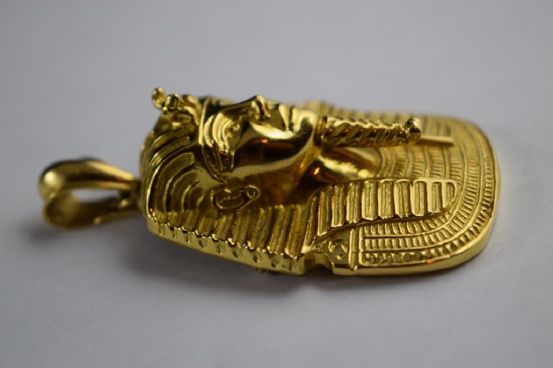 LARGE 18K GOLD EGYPTIAN KING TUTANKHAMUN PENDANT - 3