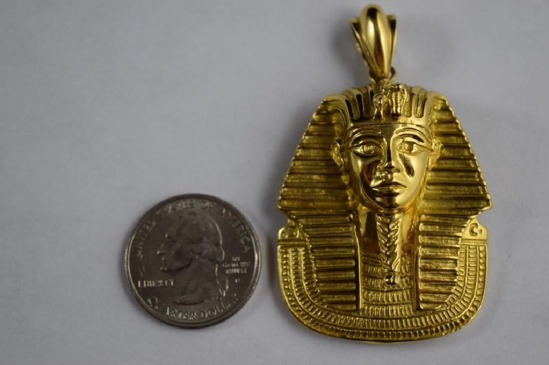 LARGE 18K GOLD EGYPTIAN KING TUTANKHAMUN PENDANT - 5