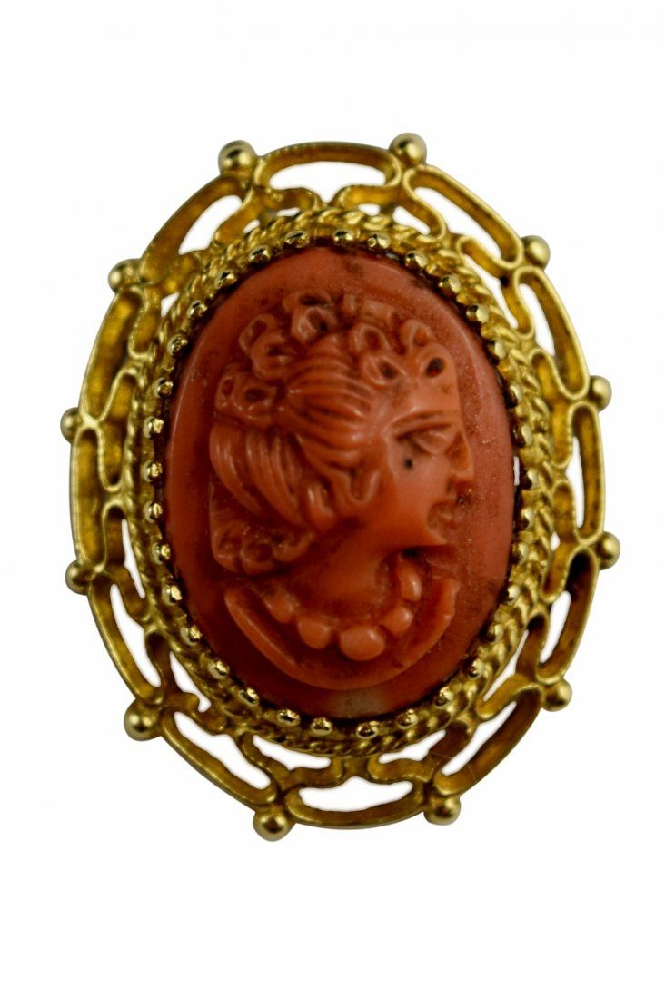 14K GOLD VICTORIAN CARVED CAMEO CORAL PENDANT