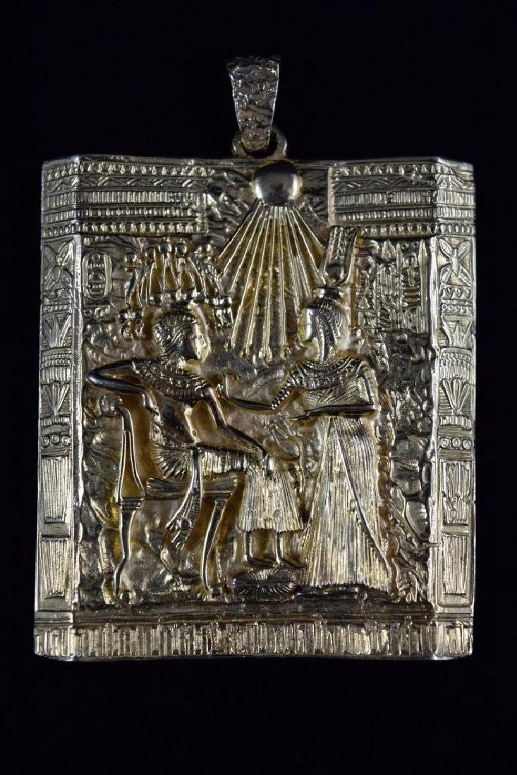 18K GOLD EGYPTIAN PHARAOH TEMPLE SCENE PENDANT - 10