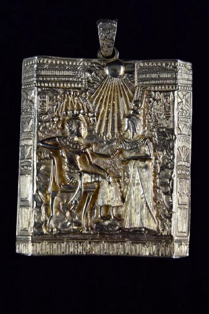 18K GOLD EGYPTIAN PHARAOH TEMPLE SCENE PENDANT - 11