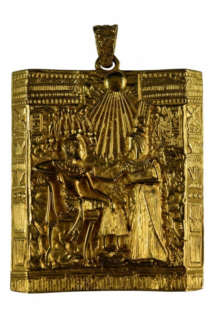 18K GOLD EGYPTIAN PHARAOH TEMPLE SCENE PENDANT
