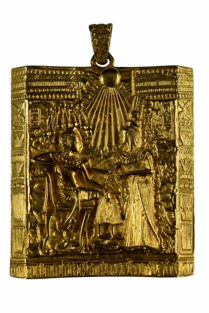 18K GOLD EGYPTIAN PHARAOH TEMPLE SCENE PENDANT