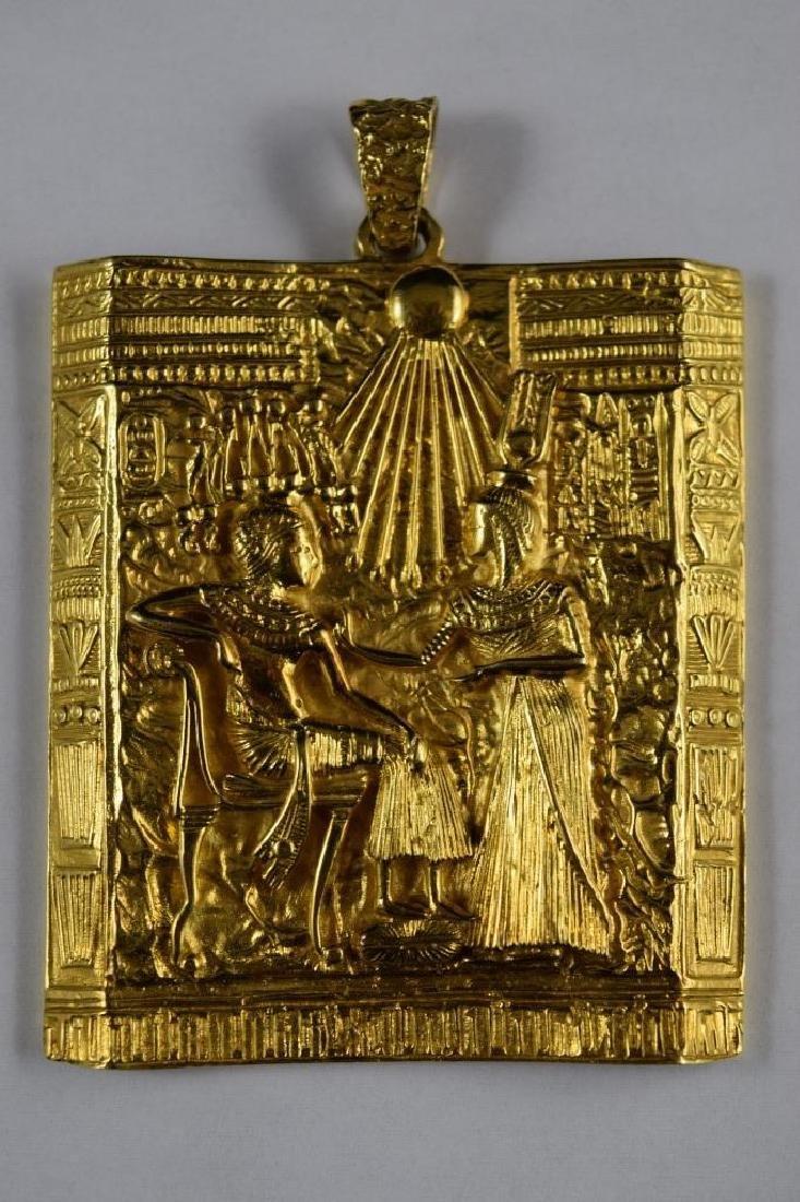 18K GOLD EGYPTIAN PHARAOH TEMPLE SCENE PENDANT - 2