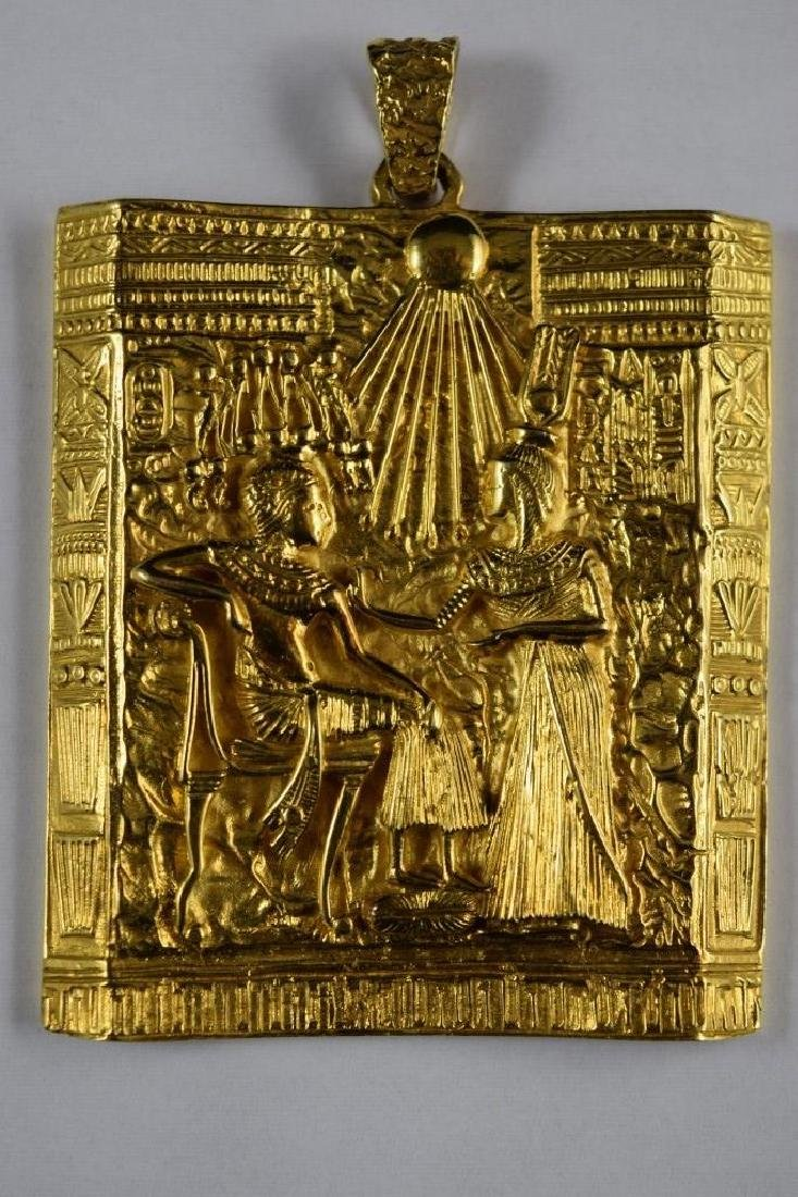 18K GOLD EGYPTIAN PHARAOH TEMPLE SCENE PENDANT - 3