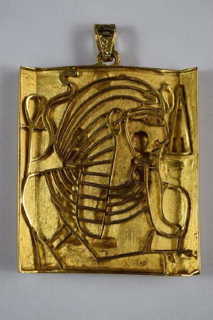 18K GOLD EGYPTIAN PHARAOH TEMPLE SCENE PENDANT - 4