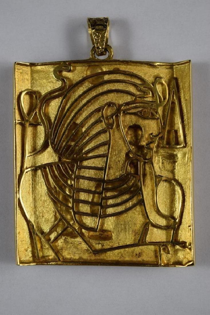 18K GOLD EGYPTIAN PHARAOH TEMPLE SCENE PENDANT - 5