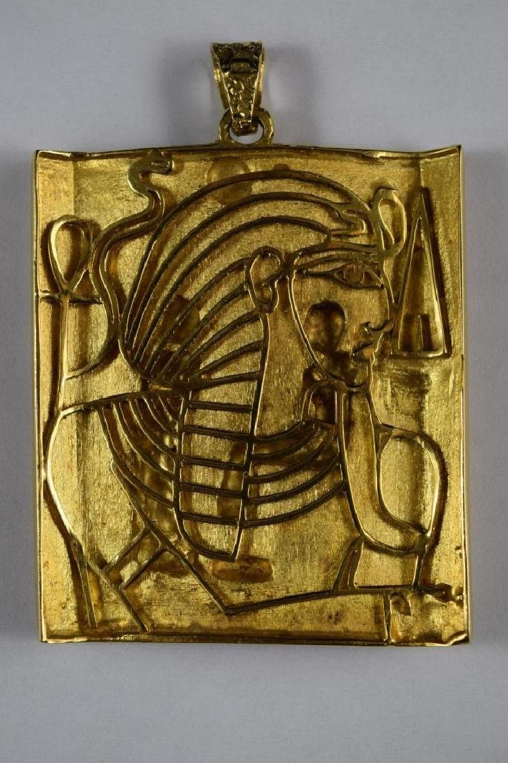 18K GOLD EGYPTIAN PHARAOH TEMPLE SCENE PENDANT - 5