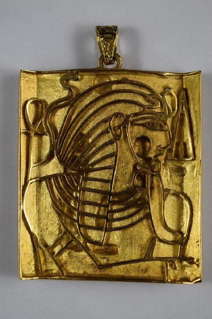 18K GOLD EGYPTIAN PHARAOH TEMPLE SCENE PENDANT - 6