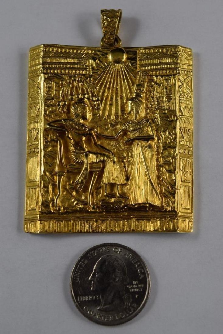 18K GOLD EGYPTIAN PHARAOH TEMPLE SCENE PENDANT - 7