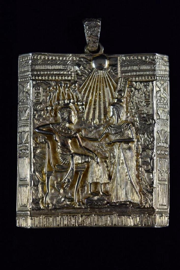 18K GOLD EGYPTIAN PHARAOH TEMPLE SCENE PENDANT - 8
