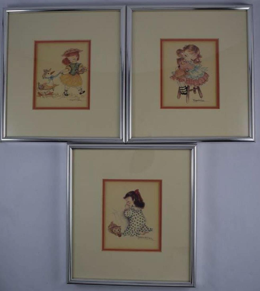 3 LITHOGRAPHS OF GIRL WITH HER PET CATS & DUCK