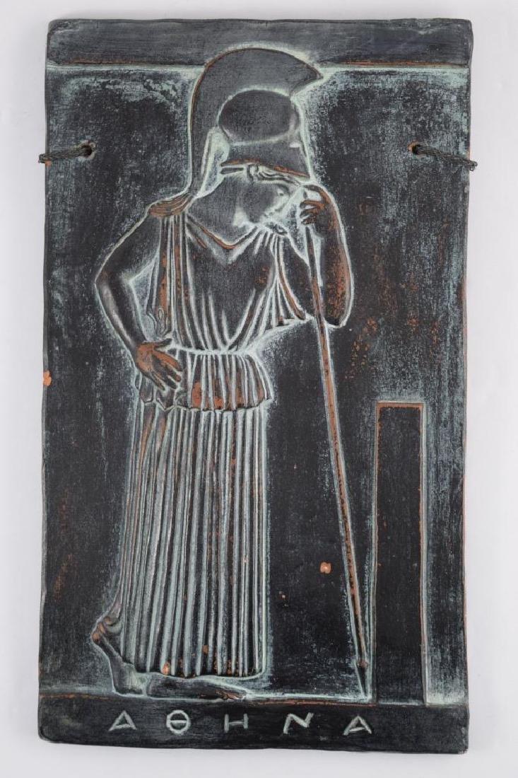GREEK MEDITATING MINERVA CERAMIC CLAY TILE RELIEF