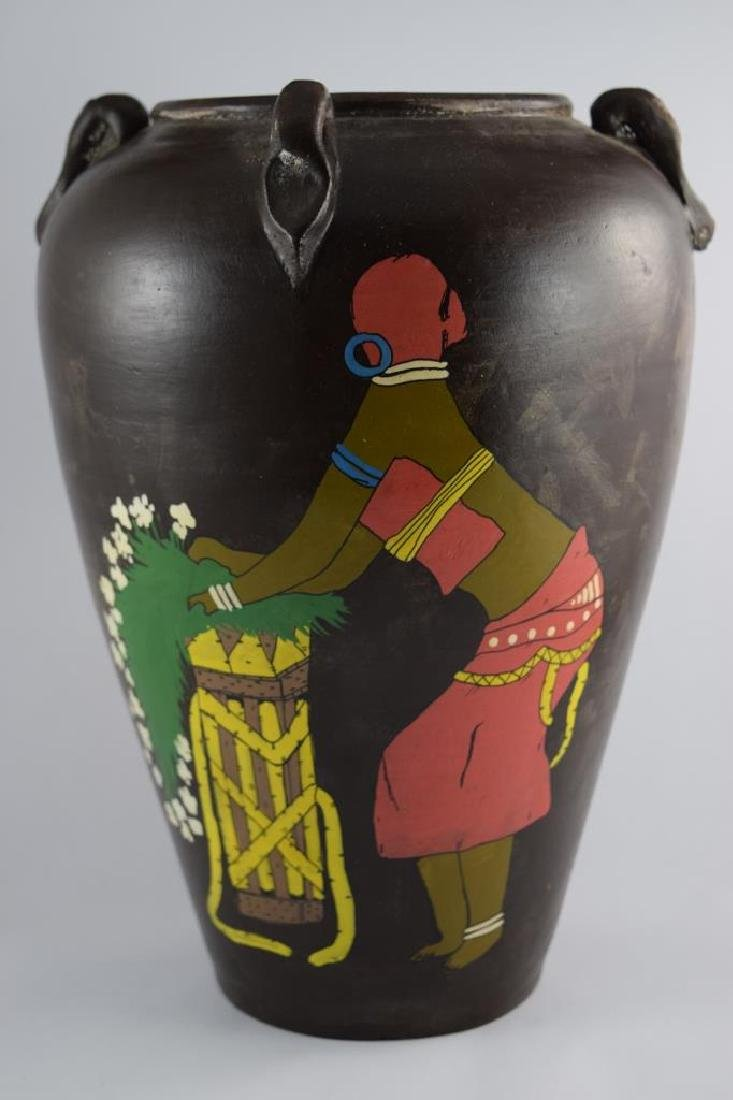 HAND PAINTED AFRICAN CERAMIC POTTERY LARGE VASE