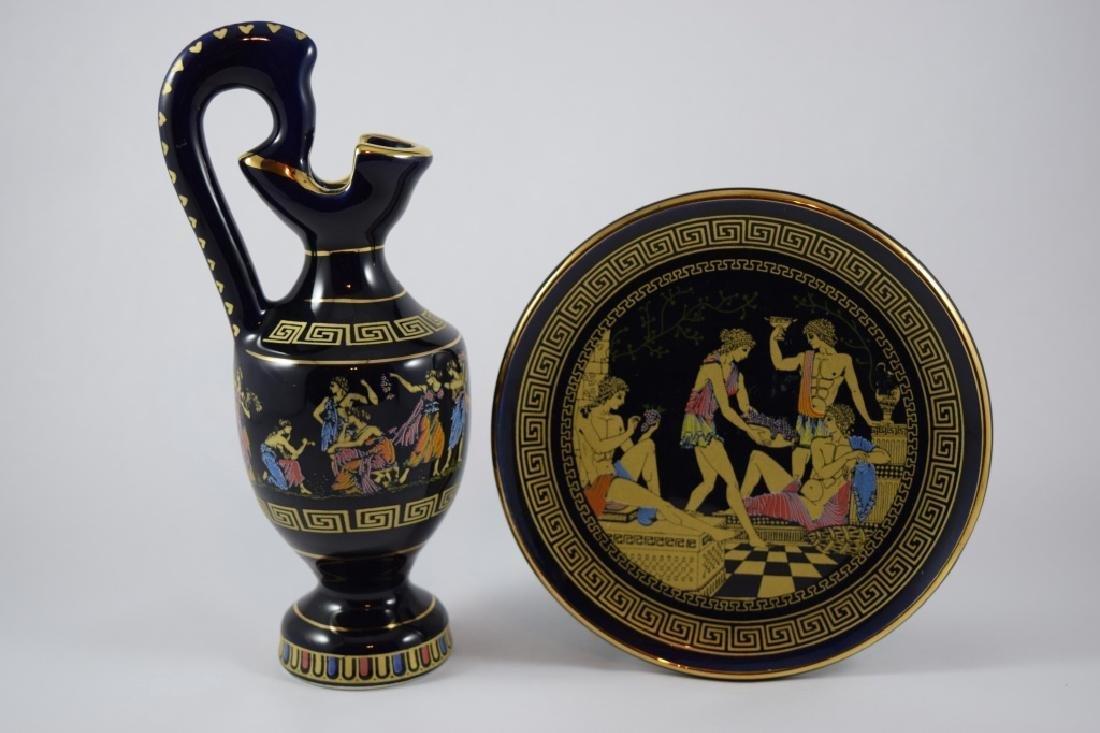 GREEK GOLD GILT COBALT PORCELAIN PLATE & PITCHER