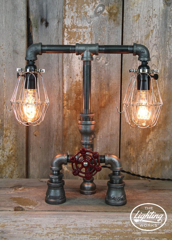 Industrial Table Lamp with Steel Cages & Edison Bulbs