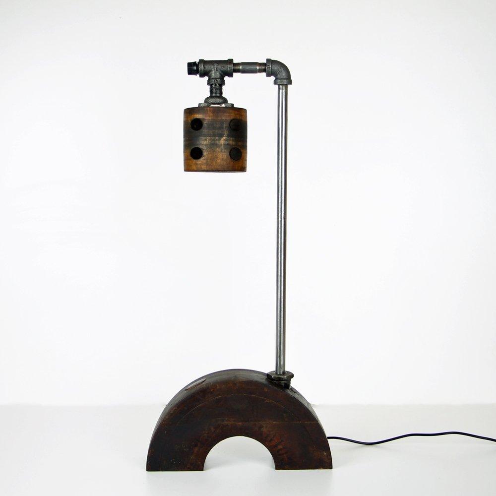 Industrial Oak & Steel Table Lamp
