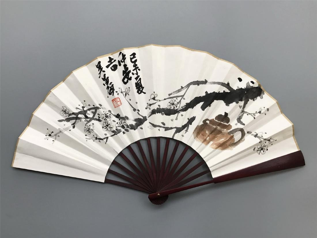 CHINESE FAN PAINTING OF FLOWER