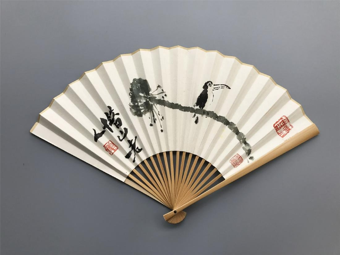 CHINESE FAN PAINTING OF BIRD ON LOTUS