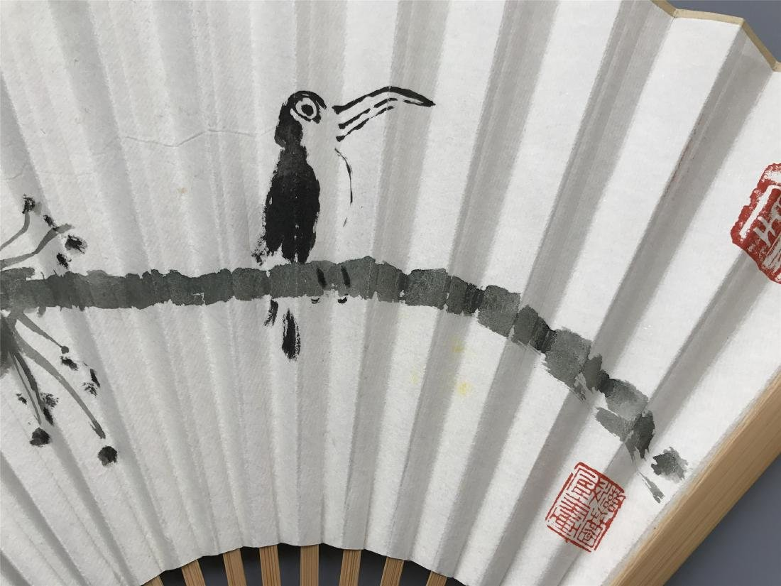 CHINESE FAN PAINTING OF BIRD ON LOTUS - 3