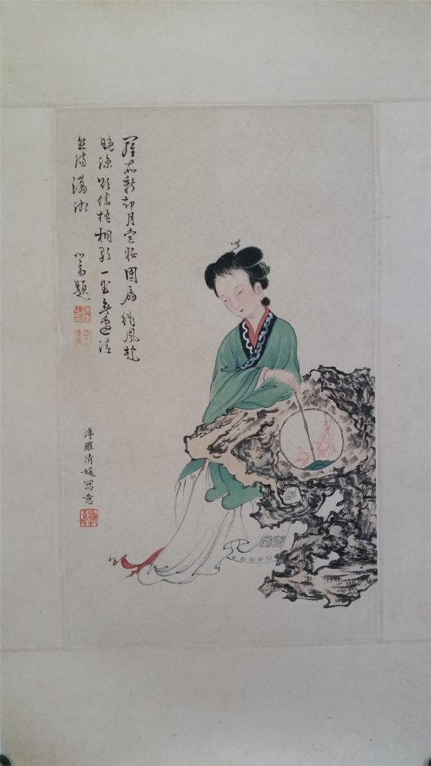 CHINESE SCROLL PAINTING OF A SEATED BEAUTY