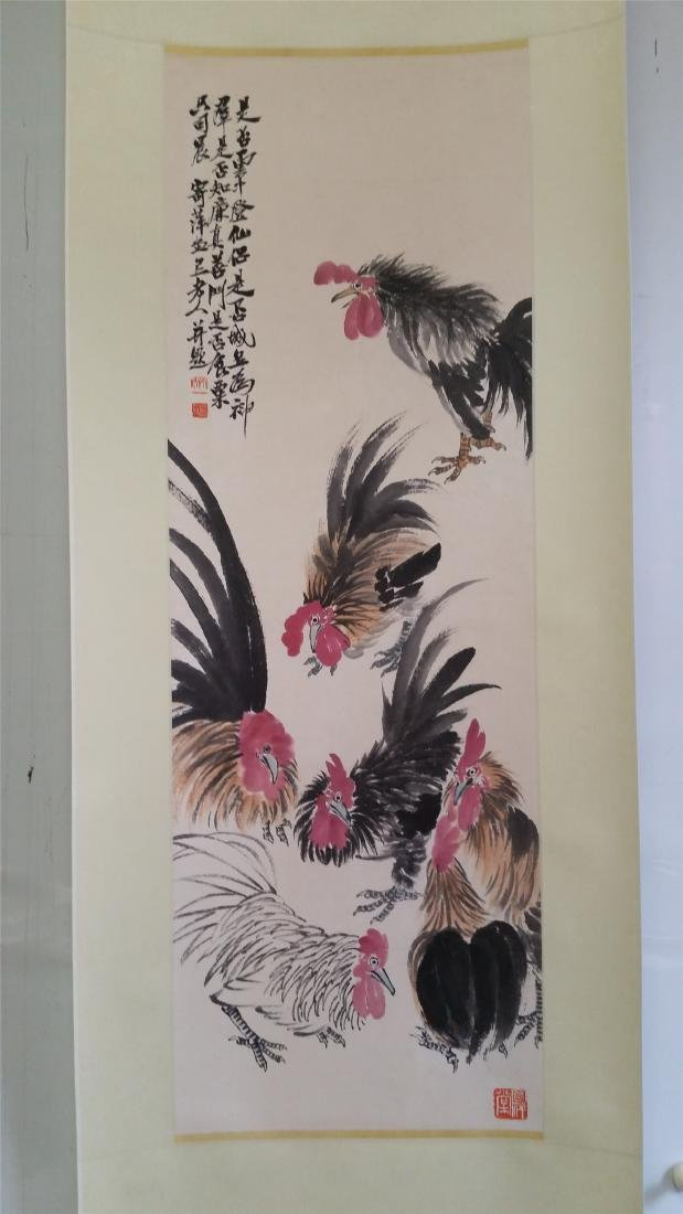 CHINESE SCROLL PAINTING OF ROOSTERS