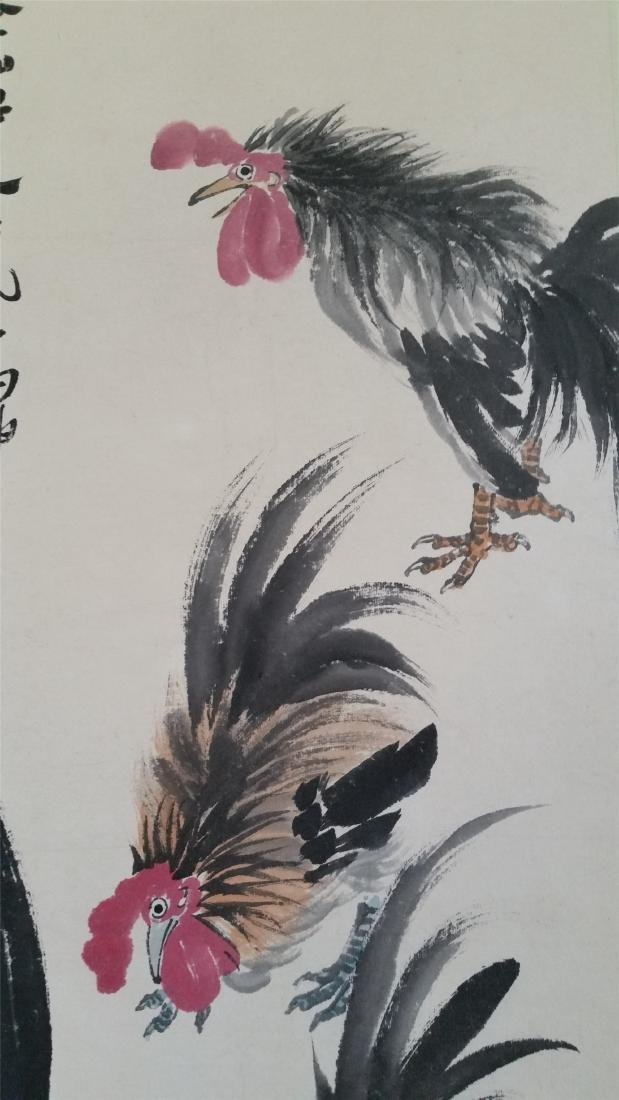 CHINESE SCROLL PAINTING OF ROOSTERS - 2