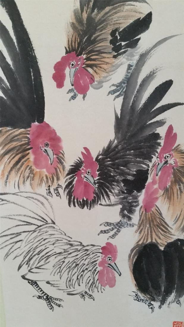 CHINESE SCROLL PAINTING OF ROOSTERS - 3