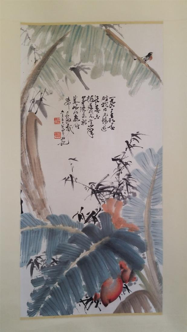 CHINESE SCROLL PAINTING OF BANANA LEAF AND BAMBOO
