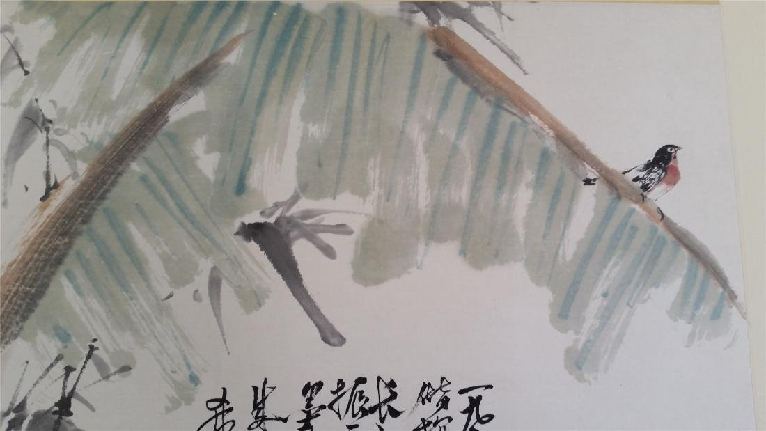 CHINESE SCROLL PAINTING OF BANANA LEAF AND BAMBOO - 2