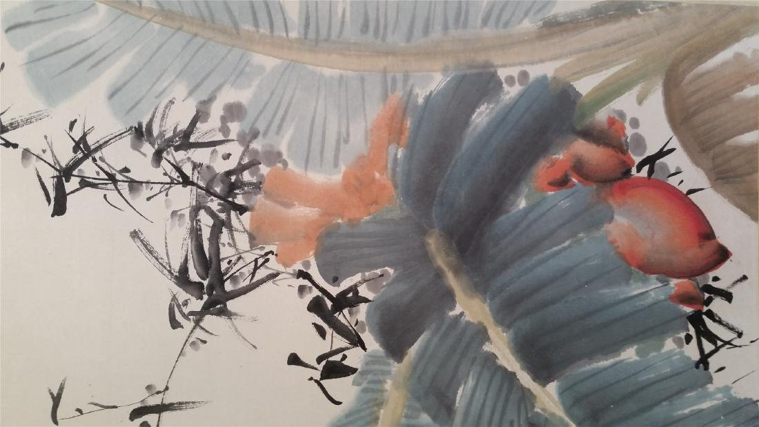 CHINESE SCROLL PAINTING OF BANANA LEAF AND BAMBOO - 3