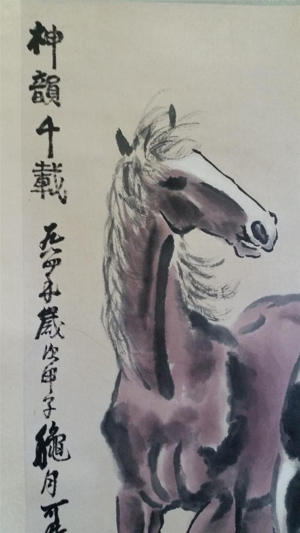 CHINESE SCROLL PAINTING OF TWO HORSES - 2