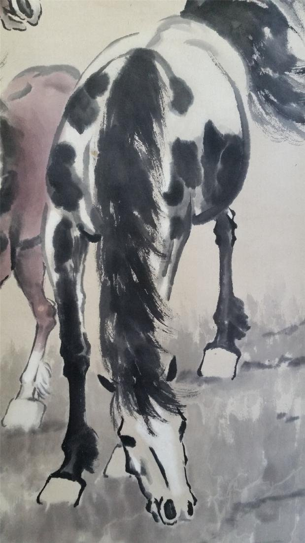 CHINESE SCROLL PAINTING OF TWO HORSES - 3