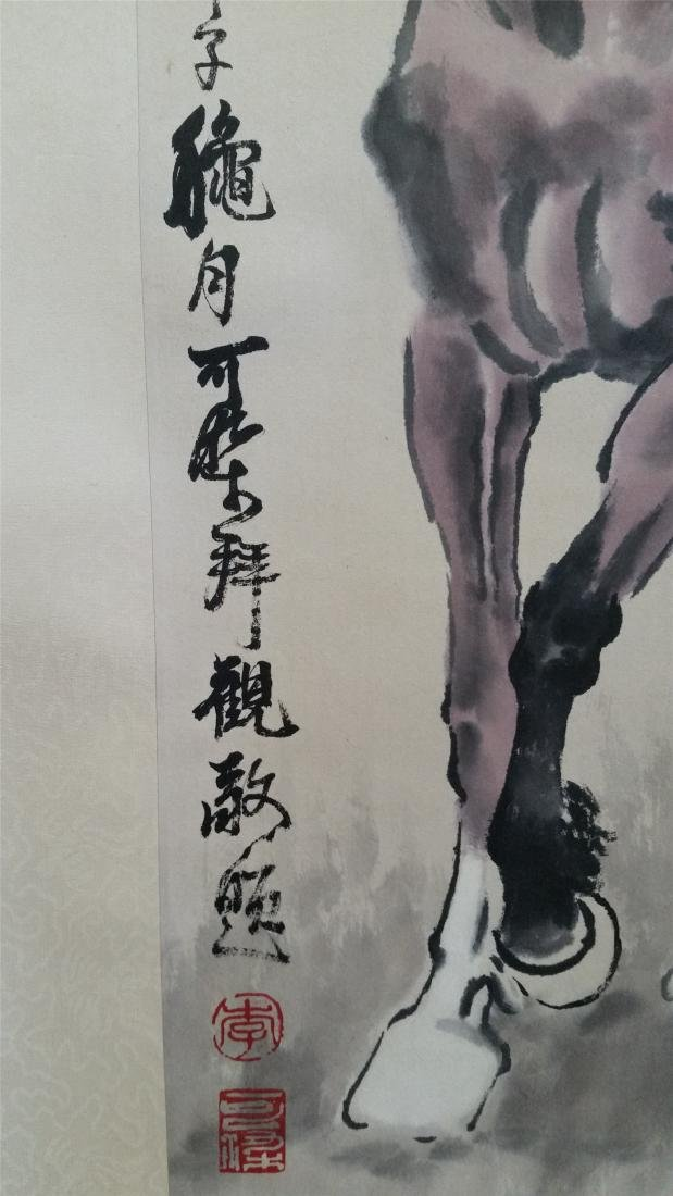 CHINESE SCROLL PAINTING OF TWO HORSES - 4