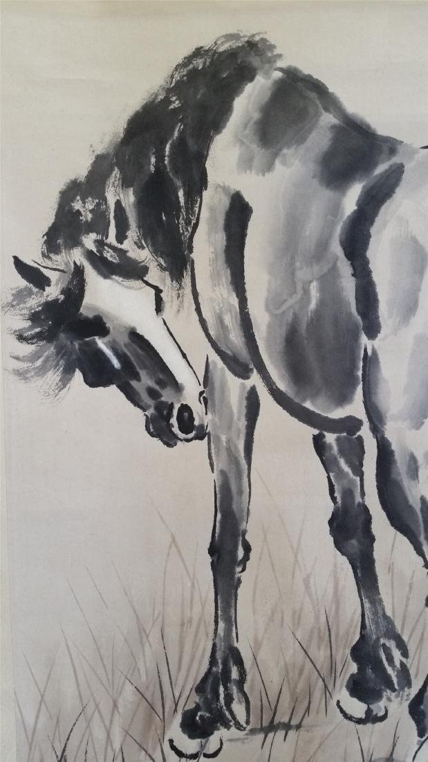 CHINESE SCROLL PAINTING OF HORSE - 2