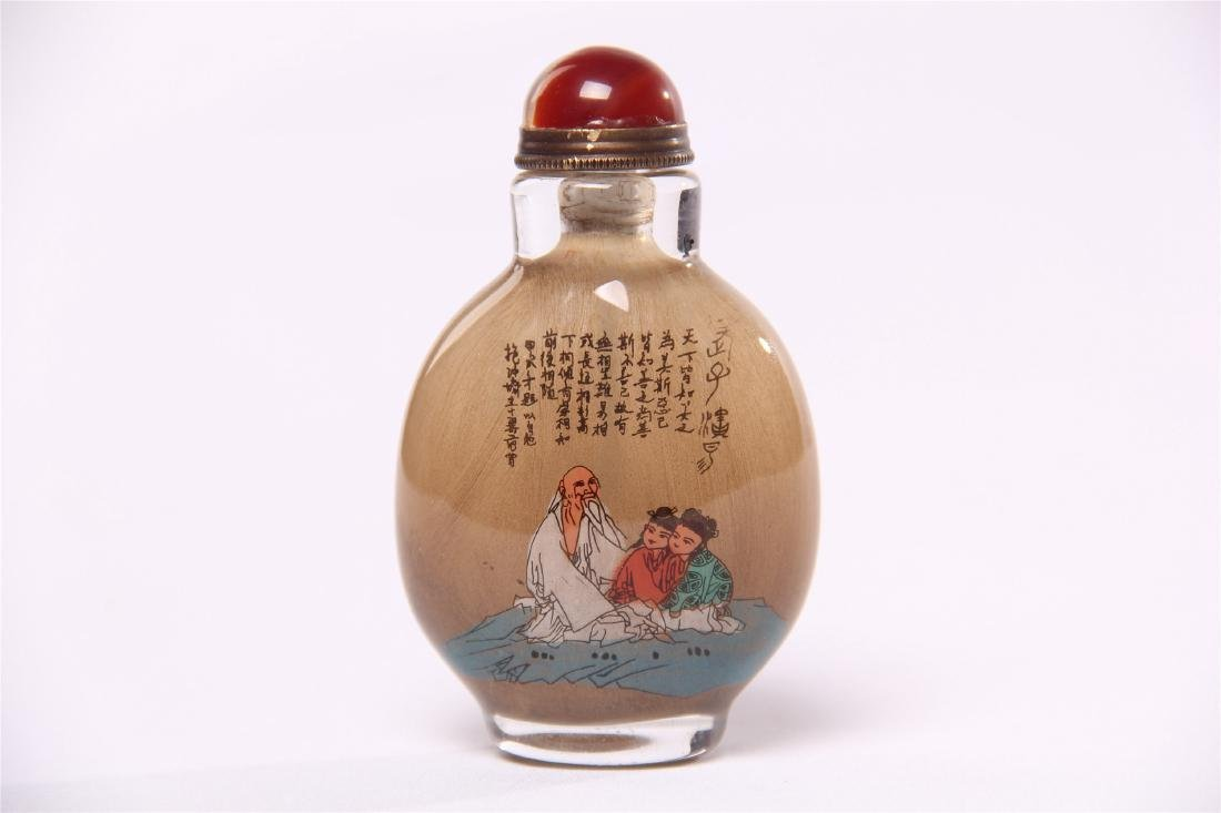 CHINESE GLASS INSIDE PAINTED SNUFF BOTTLE - 3