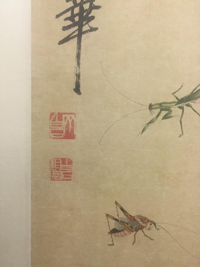 CHINESE SCROLL PAINTING OF INSECTS - 2