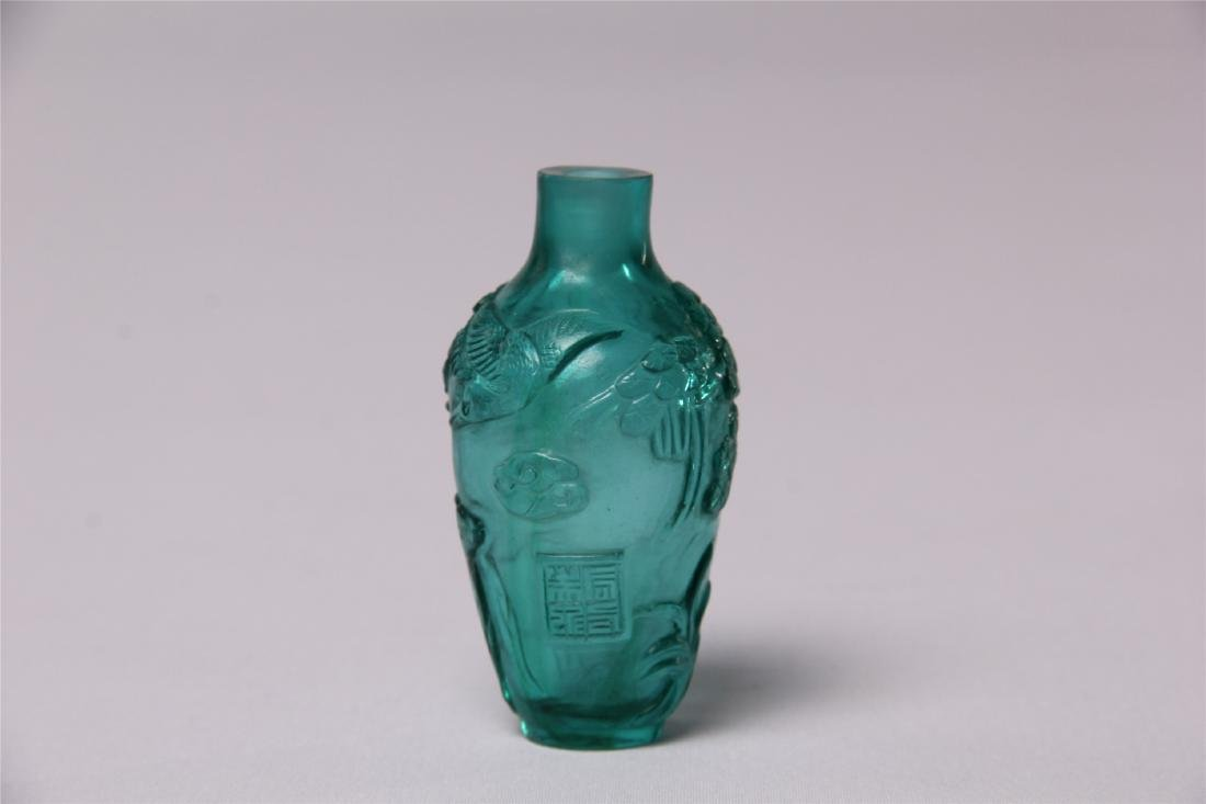 CHINESE BLUE GLASS CRAVED SNUFF BOTTLE - 2