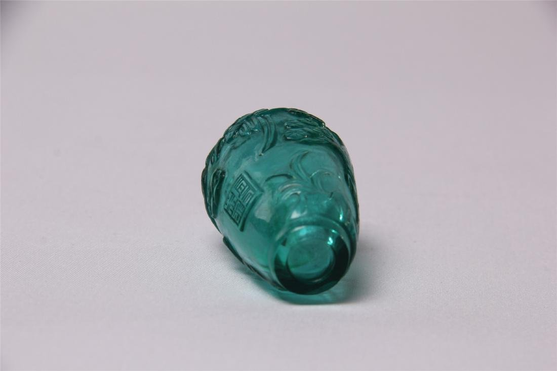 CHINESE BLUE GLASS CRAVED SNUFF BOTTLE - 3